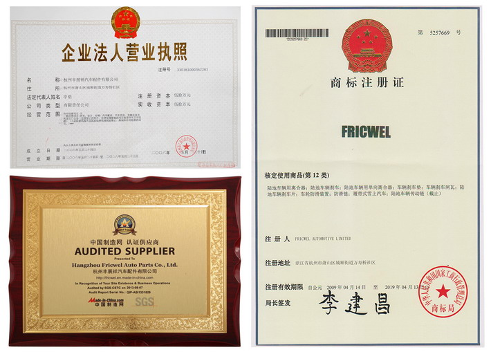 Fricwel trademark was registered in 2006, we are also the audited supplier by SGS and made-in-china agent.